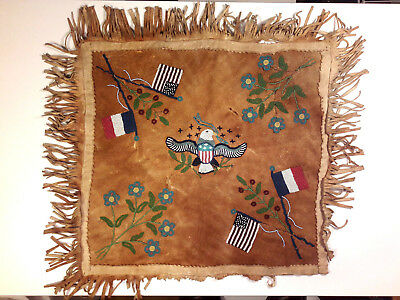 Late 19th early 20th - Rare beaded hide made by Cree Indians and sold in France