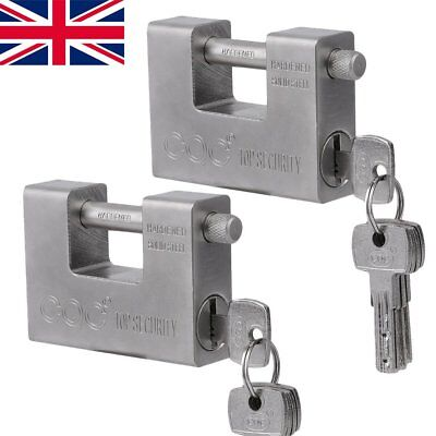 2 X 94mm Steel Shutter Padlock Heavy Duty High Security Garage Shed Container UK