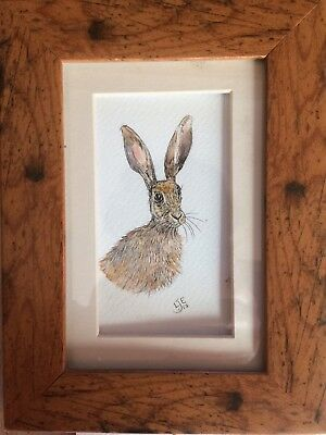 Original Framed Watercolour Painting Wildlife Hare By Lisa EVANS