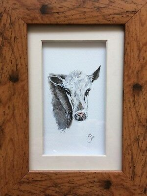 Original Framed Watercolour Painting Friesian Cow By Lisa EVANS