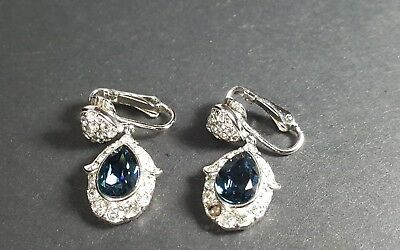 Attwood Sawyer saphire clear rhinestones silver tone clip on dangler earrings