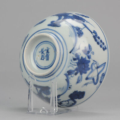 Antique ca 1600 Wanli Chinese Porcelain Bird / Duck Bowl Bottom Marked China
