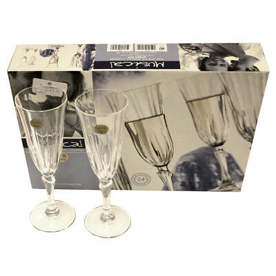 Musical Calici Champagne Flutes Glasses Pure Lead Crystal Made In Italy Set of 4