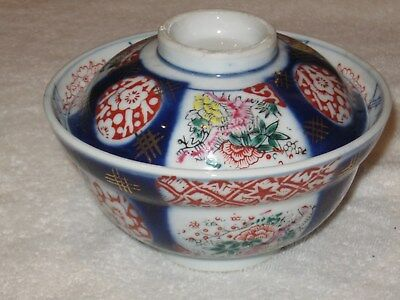"""Antique/Vintage late 1800s Japan China Imari Covered Rice Bowl  6"""" Wide"""
