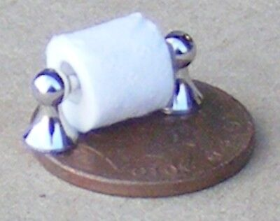 1:12 Scale Toilet Roll With A Metal Wall Holder Tumdee Dolls House Bathroom 259