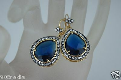 Victorian Style Tear Drop Gold Tone Sapphire Blue Lucite Dangle Earrings