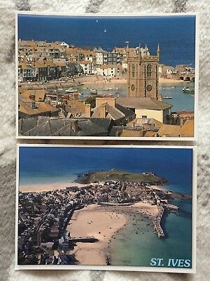 Two colour postcards unused of St Ives beach and town Cornwall