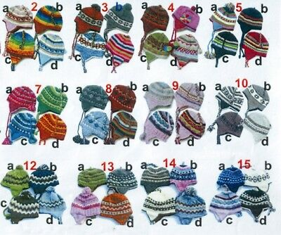 Wholesale Joblot 12 Pcs Nepalese Hats Pure Wool Hand Made Warm Winters Gift