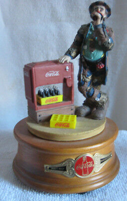 1995 Coca Cola EMMETT KELLY Clown Figurine ~ At the Red Cooler ~ LIMITED EDITION