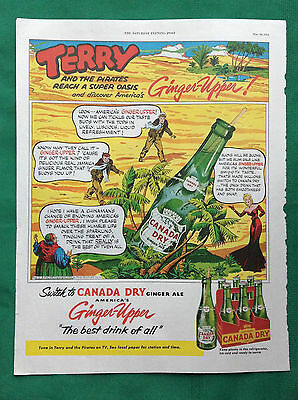1953 Lot Magazine Ads ~ Canada Dry ~ Terry & Pirates Cartoon ~ Ginger Upper