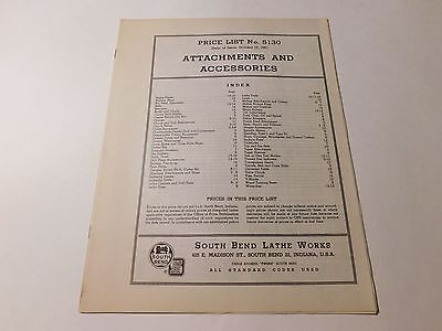 Vintage 1951 South Bend Lathe Accessories #5130 Price List 16 Pages (Inv #242)