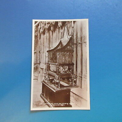Old Postcard of The Coronation Chair & Stone of Destiny Westminster Abbey.