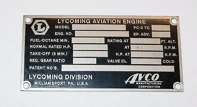 Original New Old Stock Lycoming Data Plate, From El Reno Supply. Style #2