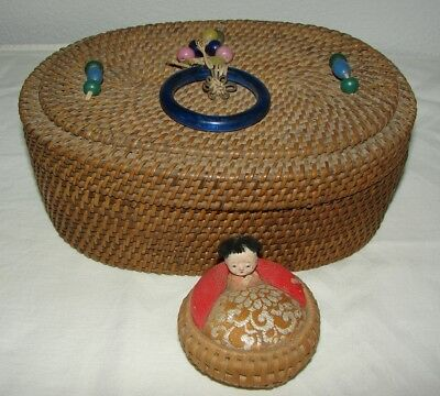 Vintage Antique Asian handwoven oval sewing basket with glass beads & pincushion