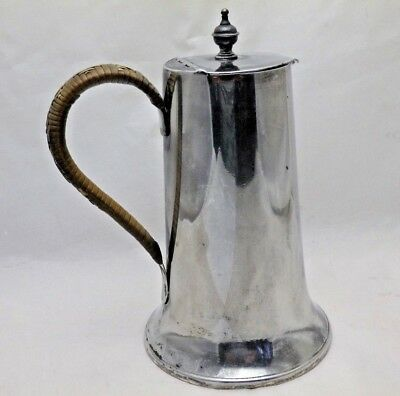 Antique Arts & Crafts Pewter Lidded Jug or Pitcher with Wicker Handle M 3999