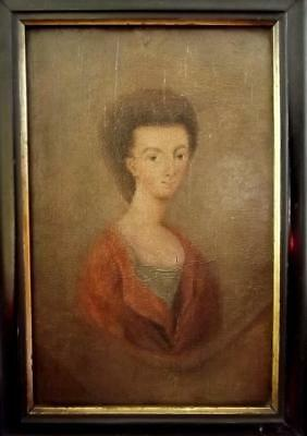 Early 18th Century BRITISH ANTIQUE Naive Oil Painting Portrait of Society Lady
