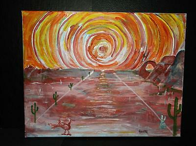 Ball of Fire Desert by Rodster 14 X11 Original Acrylic Painting