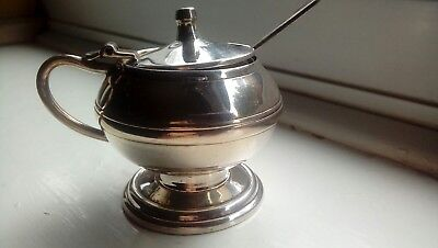 Vintage Heavyweight Silver Plated Mustard Pot, inserts and Spoon.