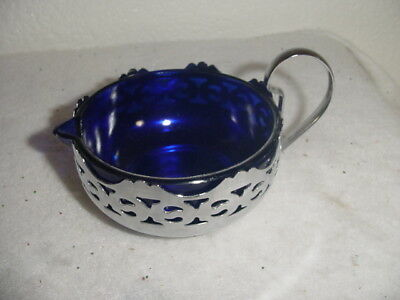 vintage cobalt blue glass inset creamer pitcher silver tone outside & handle