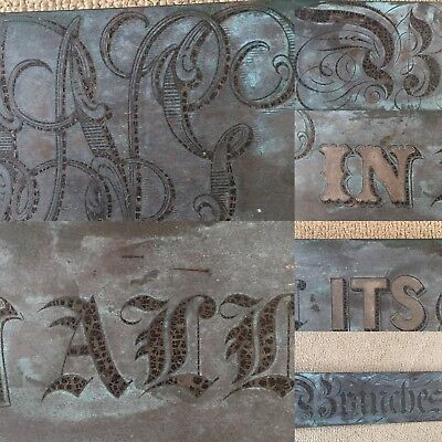 Victorian Engraved Brass Shop Advertising Sign Printers or Stationers