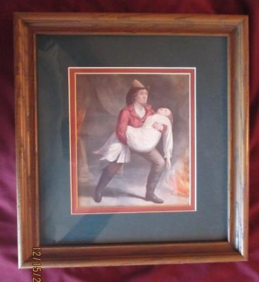 Pair Of Framed Vintage Turn Of The Century Firemen With Hose And Rescuing Women
