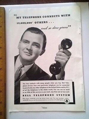 """Vintage 1938 Bell Telephone Ad """"My Telephone Connects with 19,000,000"""" 9.5"""" X 7"""""""