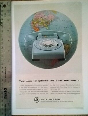 """1965 Print Ad Bell System AT&T Blue Telephone Globe Long Distance 7"""" X 10"""""""