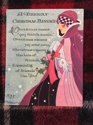 Vintage Art Deco Xmas Greeting Card Pre-owned Beautiful Flapper Woman