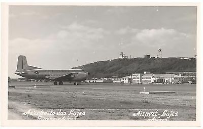 LAJES AIRPORT of AZORES - U.S. AIR FORCE PLANE ON  RUNWAY REAL PHOTO POSTCARD