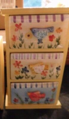 Jewelry Chest 3 Ceramic Drawers Wood Handmade Yellow Birds