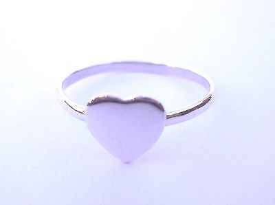 Sterling Silver Heart Ring, Size L Engravable On Trend Ring -Great For Layering