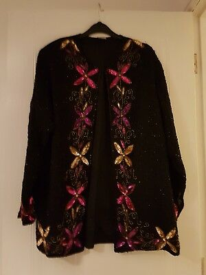 Fab Vintage Sequin And Beaded Trophy Jacket Sz 14