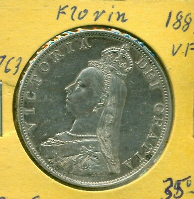 Great Britain -double Florin - 1887 - .925 Silver - VF