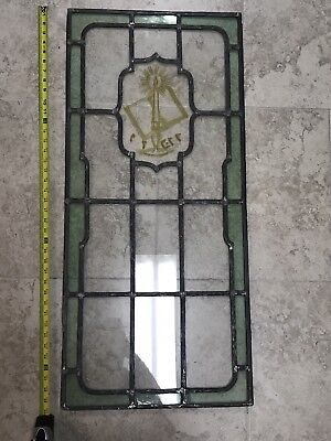 Vintage Antique Leaded Stained Glass Window Green Glass Judaic Hebrew Etched