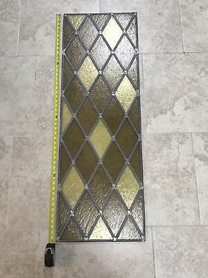 Antique Vintage Stained Leaded Glass Diamond Style Yellow Brown Bar Home Decor