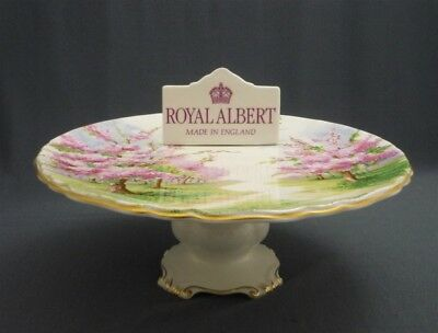 RARE Royal Albert England BLOSSOM TIME Bone China Footed Cake Tazza Stand Pink