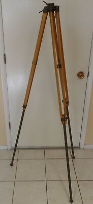 Vintage Surveyor's Surveying Transit Tripod Natural Wood And Army Green Metal