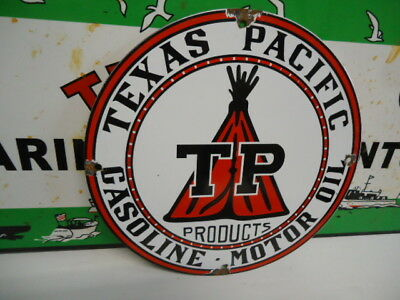 Old Used Texas Pacific Gas & Oil  Porcelain Metal Gas Oil Sign!  Pump Plate