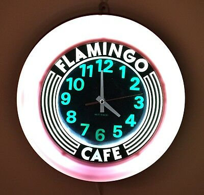 "Retro Diner Wall Clock Vintage Style Advertising Pink Lighted 14"" Diam"