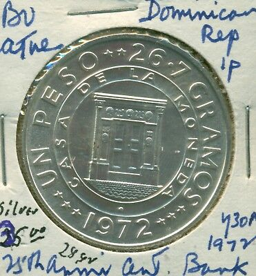 The Dominican Republic - 1 Peso - 1972 -  Silver - BU