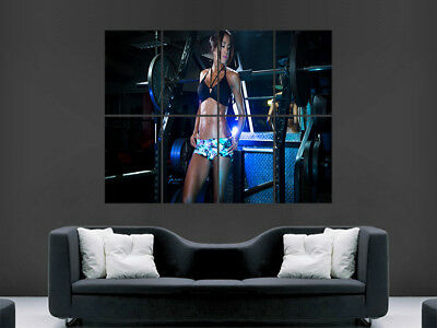 Fitness Gym Poster Girl Sexy Abs Toned Muscles Weights Wall Art Picture Print
