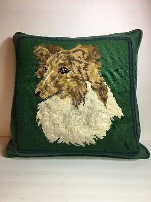 Handmade needlepoint Sheltie / Collie Dog Pillow with binding