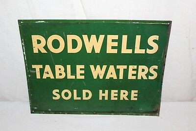 """Vintage 1940's Rodwells Table Waters Soda Pop Gas Station 16"""" Metal Sign"""