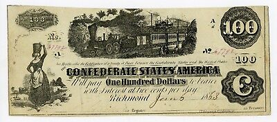 1863 T-40 $100 Confederate States of America Note - Maj. + QM McElrath Issued