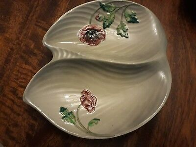 genuine Staffordshire divided dish - hand painted poppies