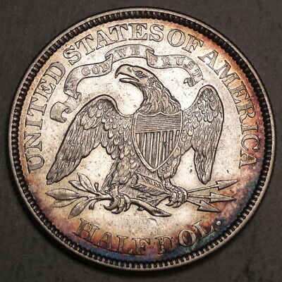1869 Seated Liberty Half Dollar, Better Date, Choice Extremely Fine, Nice Toning