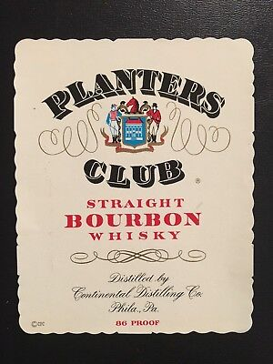 1950's Planters Club Bourbon Whiskey Label- Fox Hunter's on front.