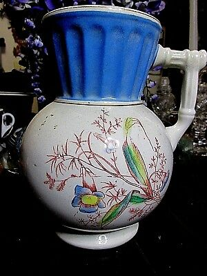 Antique Porcelain Pitcher Ionic Ceramic Ironstone Painted Signed Old Original Vn