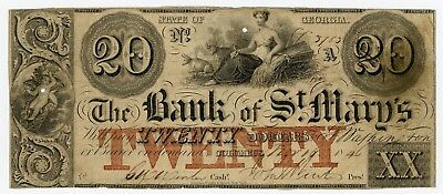 1846 $20 The Bank of St. Mary's - Columbus, GEORGIA Note