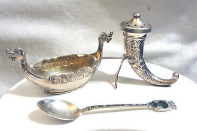 TH OLSENS Eftf  NORWAY STERLING VIKING SHIP SALT &  DRINKING HORN PEPPER D-A SPN